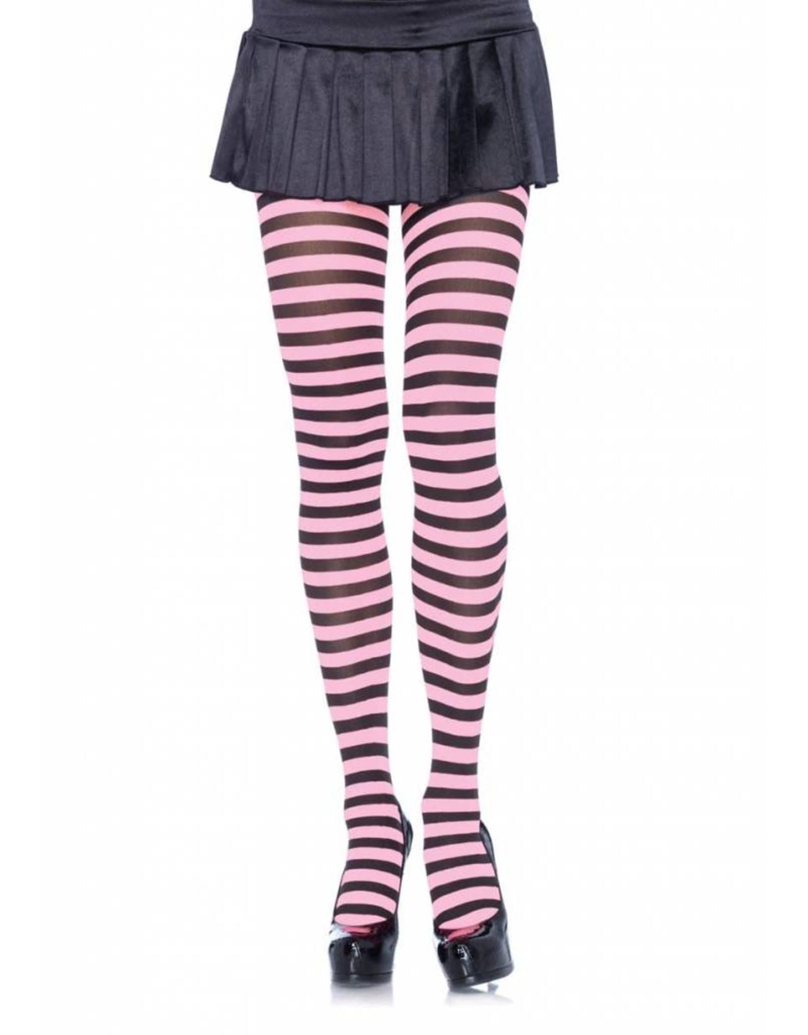 Leg Avenue Striped Tights Blk/Pink