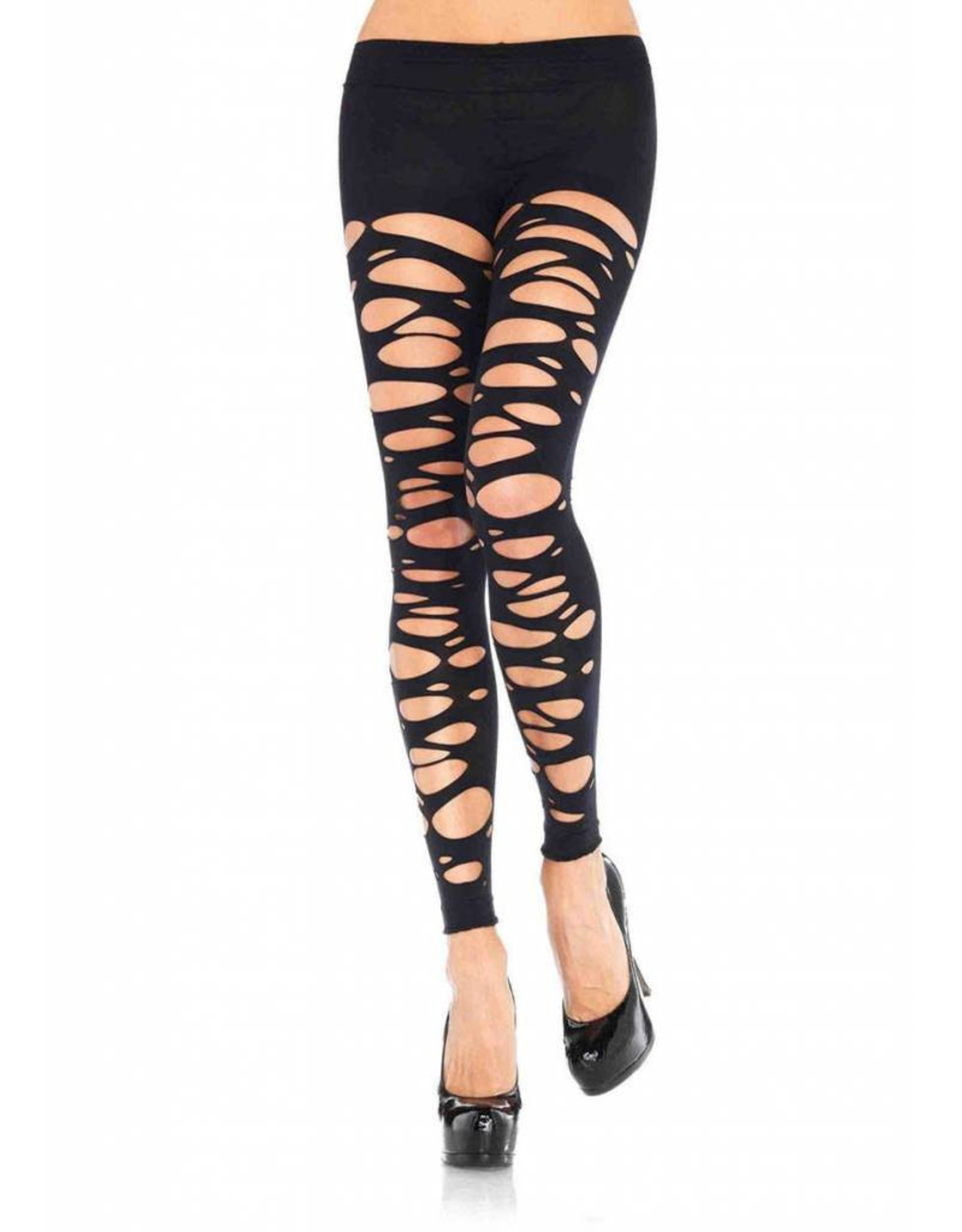 Leg Avenue Tattered Footless Tights Blk