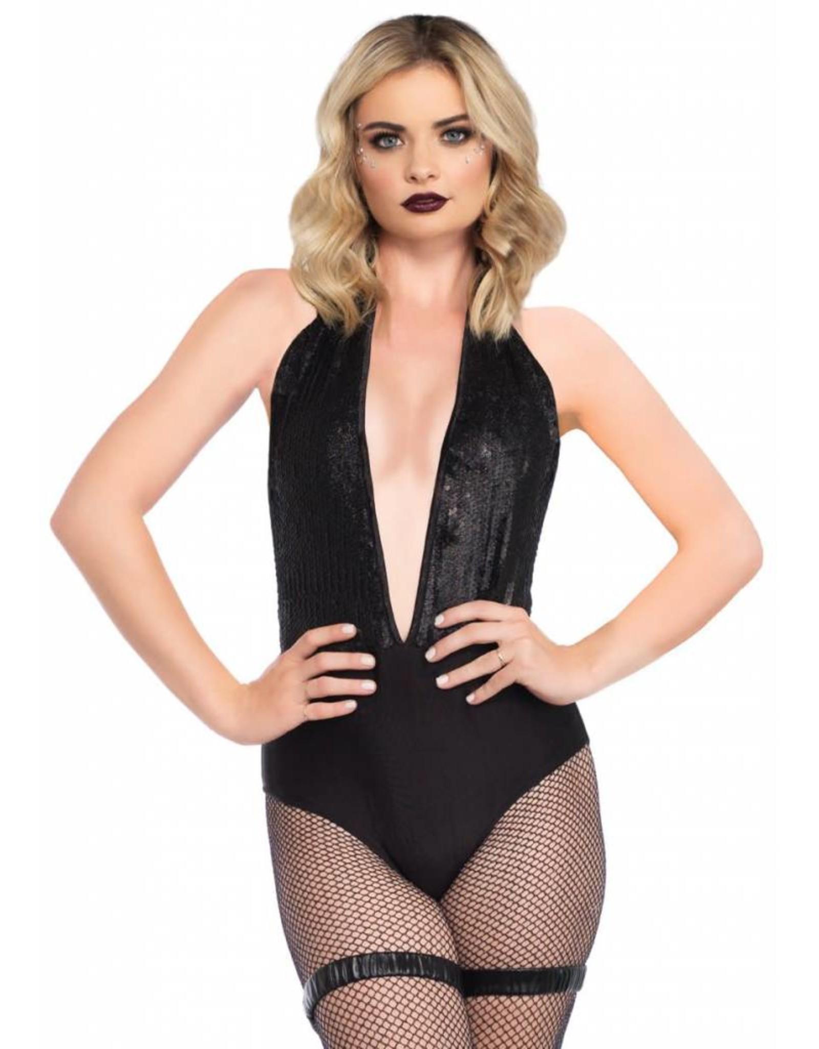 Leg Avenue Sequin Halter Bodysuit