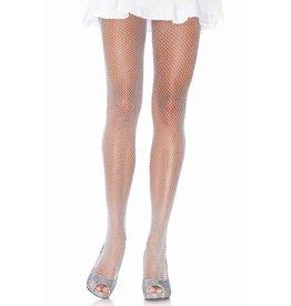 Leg Avenue Glitter Fishnets White/Silver