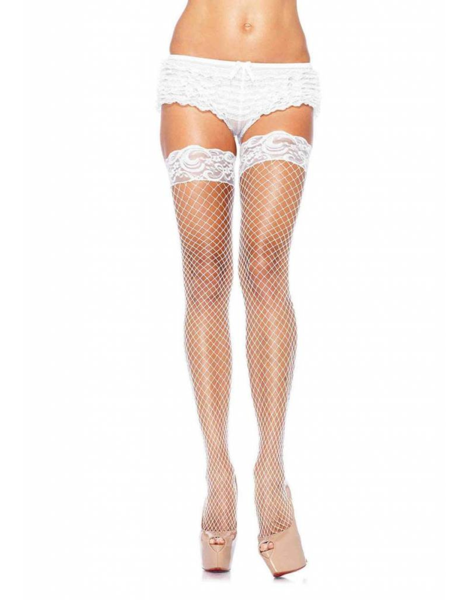 Leg Avenue Net Stocking Lace Top Wht