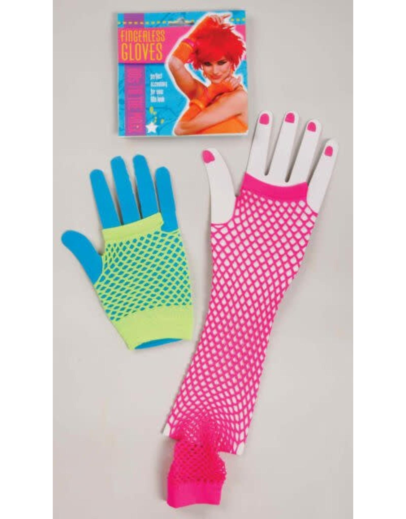 Forum 80's Neon Fishnet Gloves