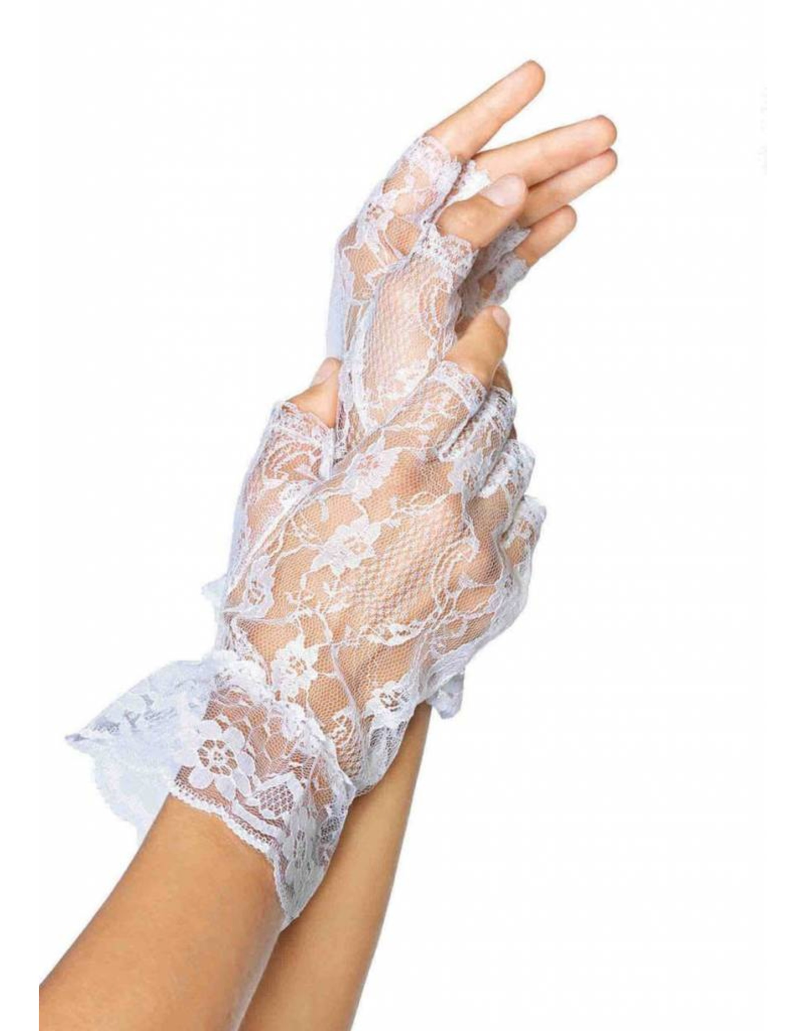 Leg Avenue Lace Ruffle Gloves White