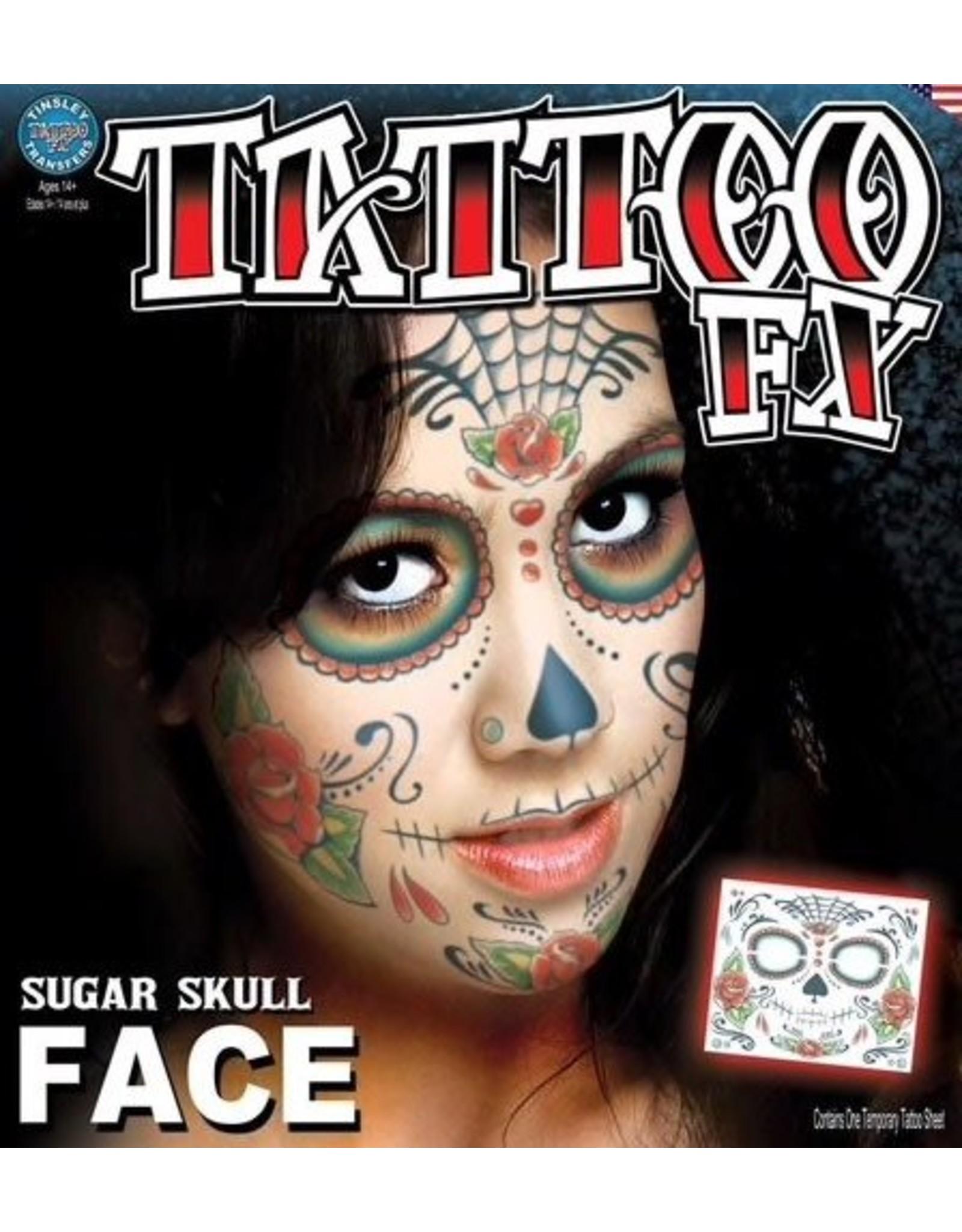 Tinsley Transfers Sugar Skull Face Tattoo
