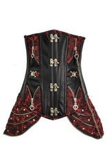 Western Fashion Steampunk Corset Black/Red
