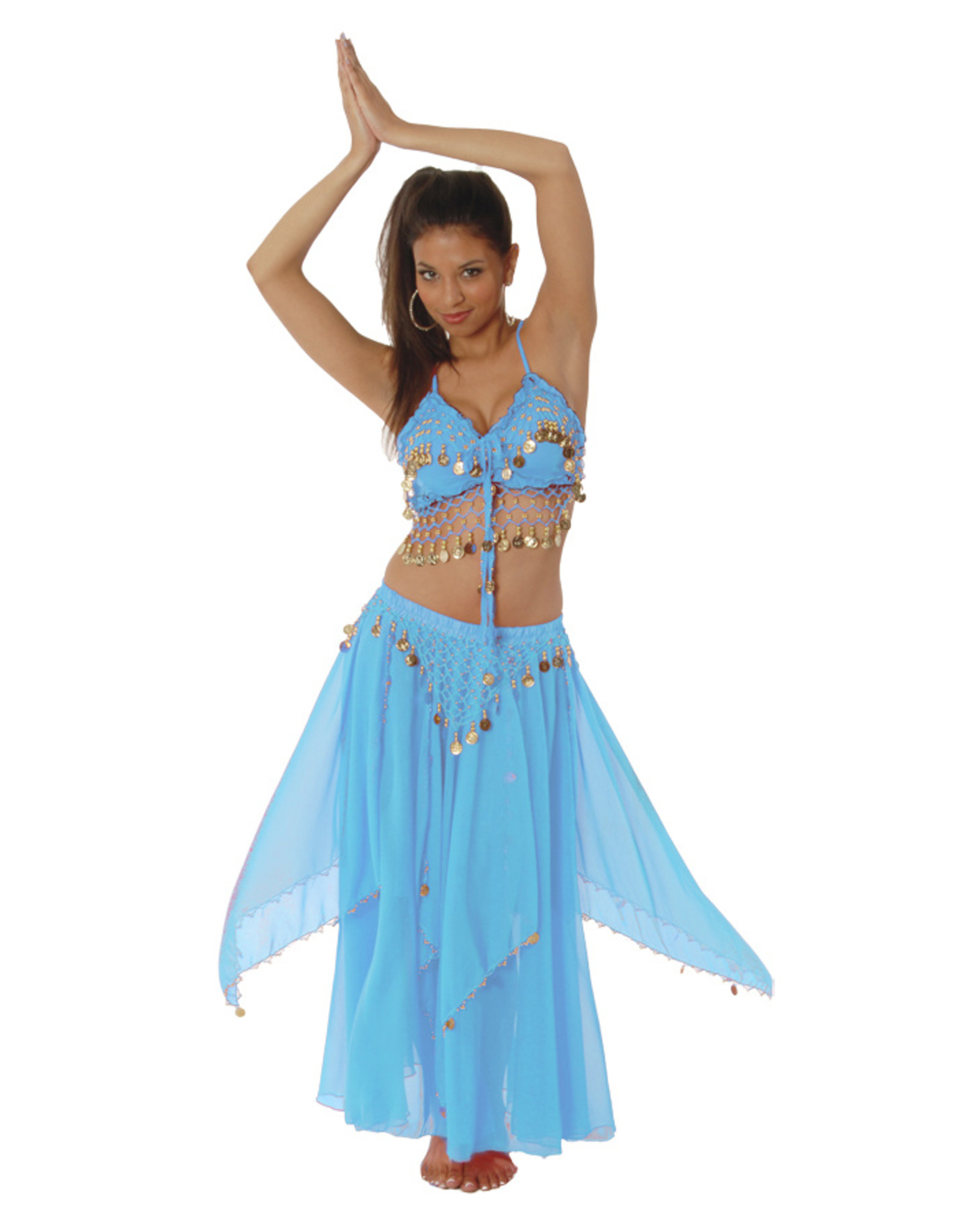 Western Fashion Belly Dancing Set Turquoise/Gold
