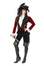 Charades Sultry Pirate Jkt Wine/Blk