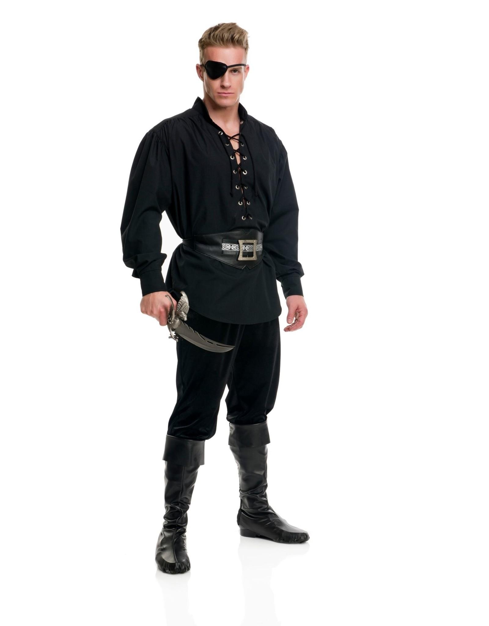 Charades Eyelet Pirate Shirt Black