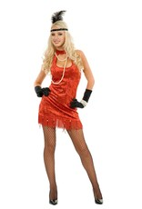 Charades Sequin Flapper Red