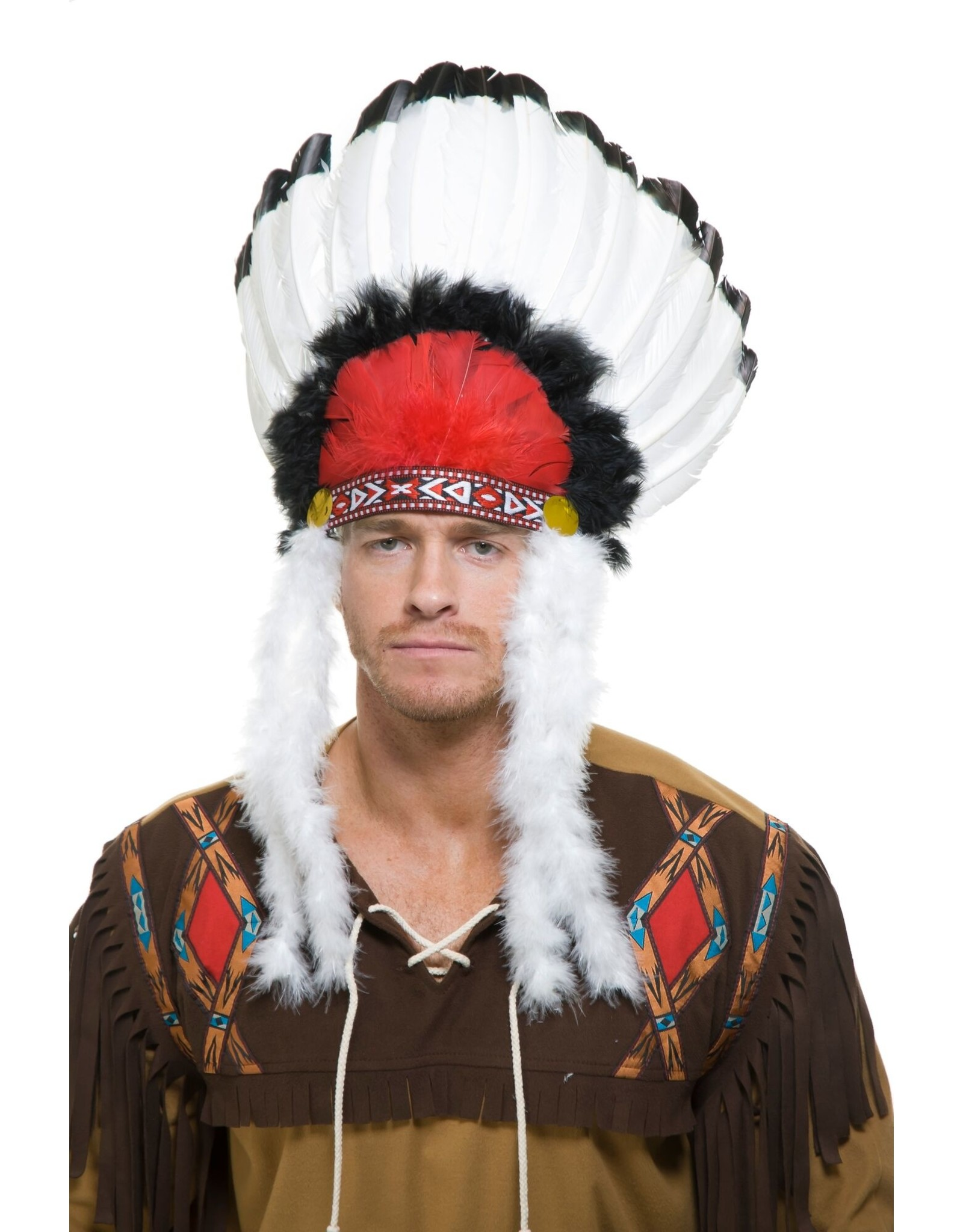 Charades Indian Headdress red/blk/wht