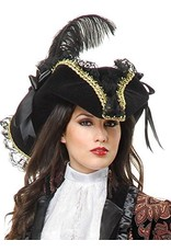 Charades Lacey Pirate Hat Black/Gold