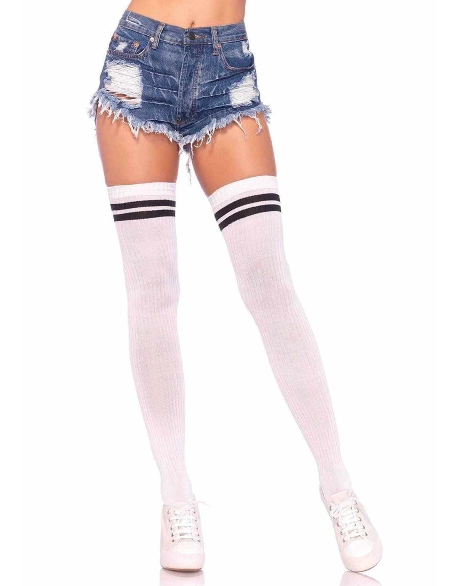 Leg Avenue Athletic Thigh Highs Wht/Blk