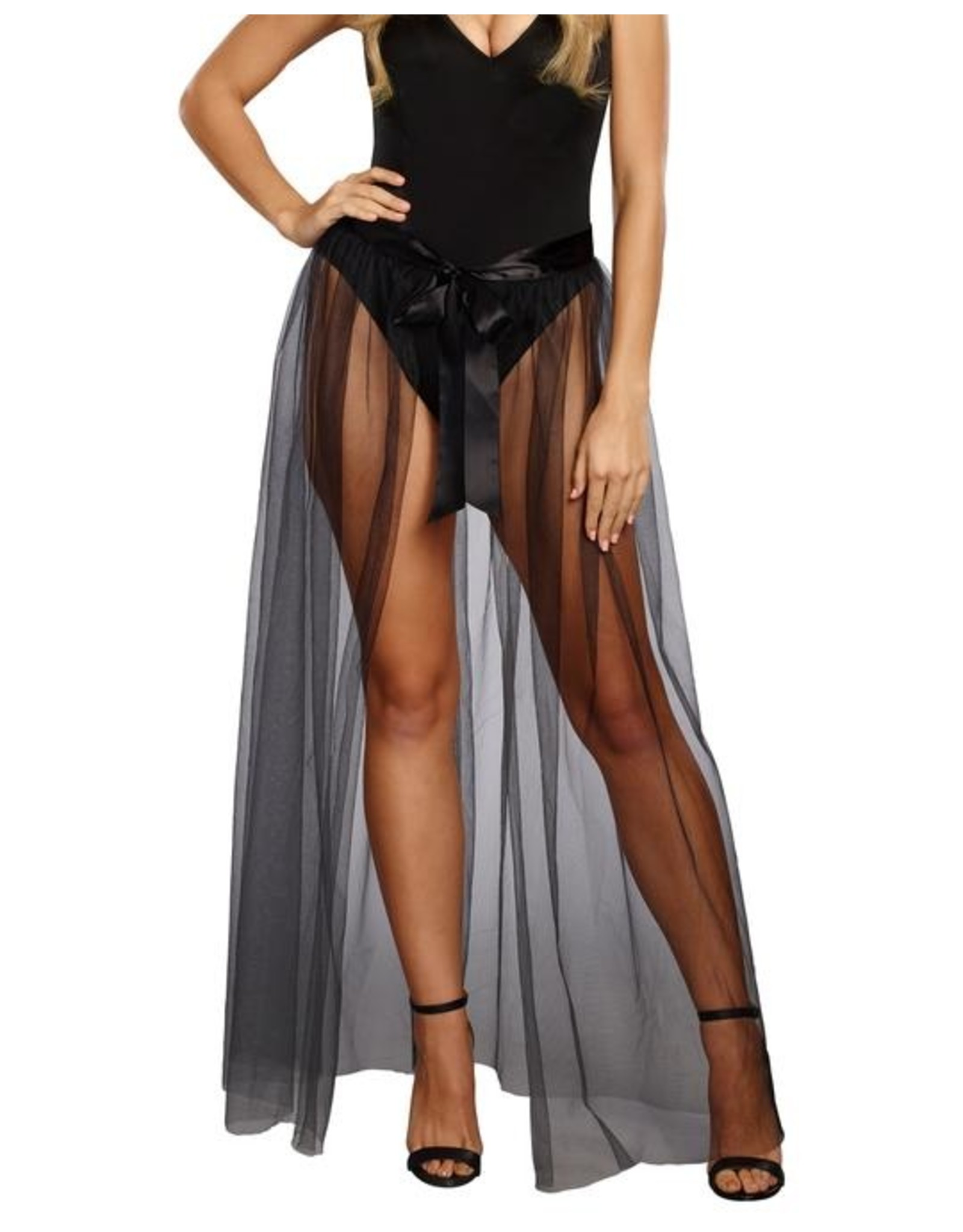 Dreamgirl Sheer Tie Front Skirt S/M