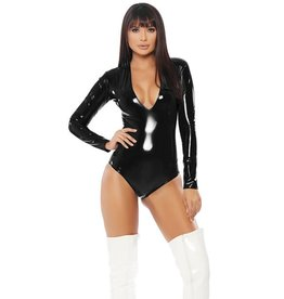 Forplay Vinyl Plunge Bodysuit