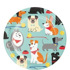 Beverage Paper Plates- Dog Party- 8pk-7""