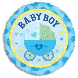 "Foil Balloon -Baby Boy Stroller 18"""