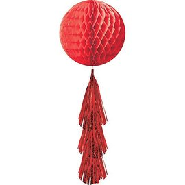 Hanging Decoration-Honeycomb Ball- Red- With a Red Fringe Tail