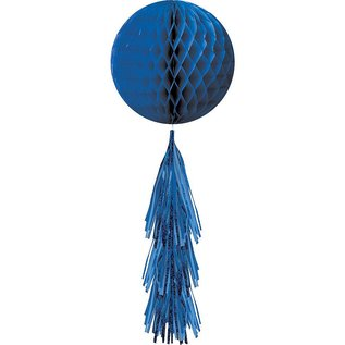 Hanging Decoration-Honeycomb Ball- Royal Blue- With a Royal Blue Fringe Tail
