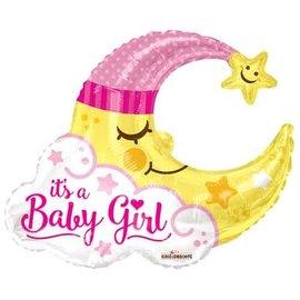"Foil Balloon - Its a Baby Girl/Moon 36"""