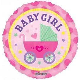 """Foil Balloon - Baby Girl Stroller 18"""""""