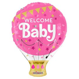 Foil Balloon -Welcome Baby/Pink Hot Air Balloon 18""