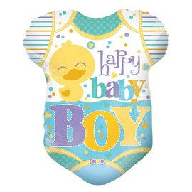 """Foil Balloon -Happy Baby Boy Duck Outfit 18"""""""