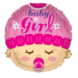 "Foil Balloon - Baby Girl Head 18"""