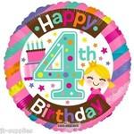 "Foil Balloon -Happy 4th Birthday 18"""