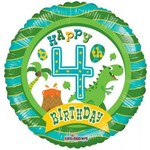 "Foil Balloon -Happy 4th Birthday/Dino 18"""