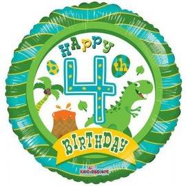 Foil-Happy 4th Birthday/Dino