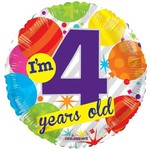 """Foil Balloon -Im 4 Years Old 18"""""""