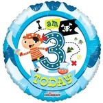 """Foil Balloon - I Am 3 Today 18"""""""