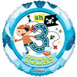 Foil Balloon - I Am 3 Today 18""