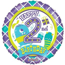 "Foil Balloon -Happy 2nd Birthday/Monster 18"""