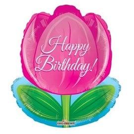Foil-Happy Birthday/Flower/Pink