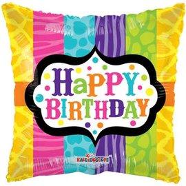 "Foil Balloon -Happy Birthday Animal Print 18"""