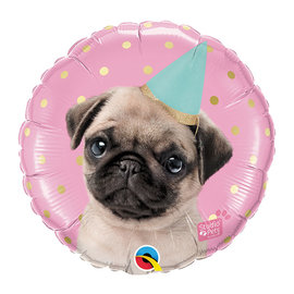 Foil- Pug with Birthday hat