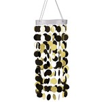 Hanging Circle Chandelier- Black and Gold