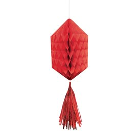 Hanging Honeycomb Decorations-Mini-Red-With Red Tassels-3pcs