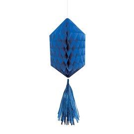 Hanging Honeycomb Decorations-Mini-Royal Blue-With Royal Blue Tassels-3pcs