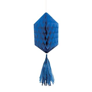 Hanging Honeycomb Decorations-Mini-Royal Blue-With Royal Blue Tassels-3pcs