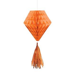Hanging Honeycomb Decorations-Mini-Orange-With Orange Tassels-3pcs