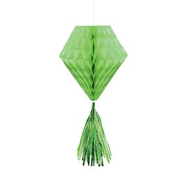Hanging Honeycomb Decorations-Mini-Lime Green-With Lime Green Tassels-3pcs