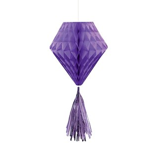 Hanging Honeycomb Decorations-Purple-With Purple Tassels-3pcs