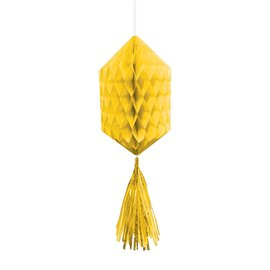 Hanging Honeycomb Decorations- Yellow- With yellow Tassels-3pk-12""