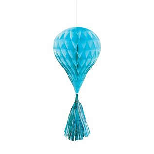 Hanging Honeycomb Decorations-Turquoise- With Turquoise Tassels-3pcs