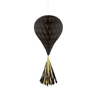 Hanging Honeycomb Decorations-Black-With Black and Gold Tassels-3pcs