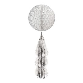 Hanging Honeycomb Ball Decorations-Glitter-With Silver and White Fringe Tail