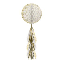 Hanging Decoration-Gold Glittered Honeycomb Ball