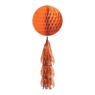 Hanging  Decorations-Honeycomb Ball-With a Orange Fringe Tail